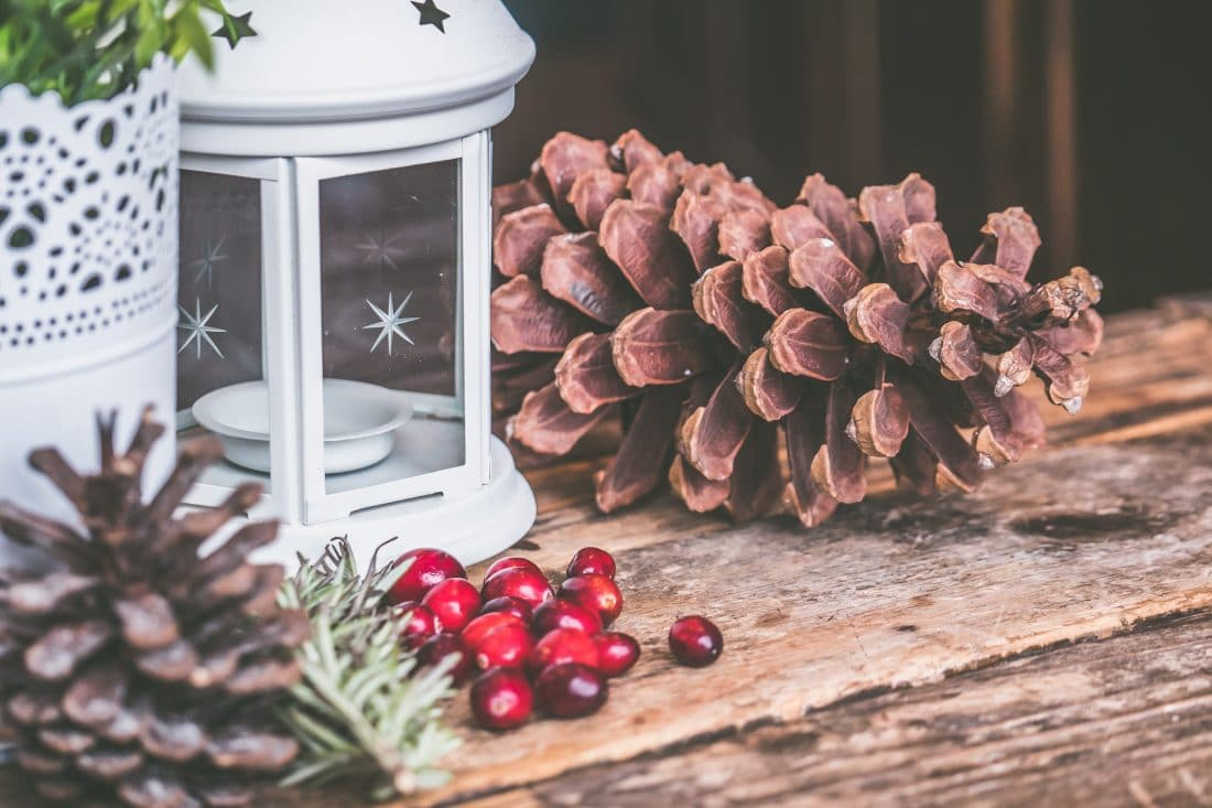 Holiday decorations with pinecones, cranberries and lantern on a rustic table